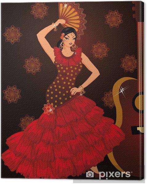 Tableau Sur Toile Le Danseur De Flamenco Espagnol Fille Et Guitare Vecteur Pixers Nous Vivons Pour Changer