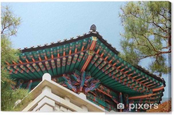 tableau sur toile le eaves du temple jincheon cor e du sud ce temple est appel 39 botapsa. Black Bedroom Furniture Sets. Home Design Ideas