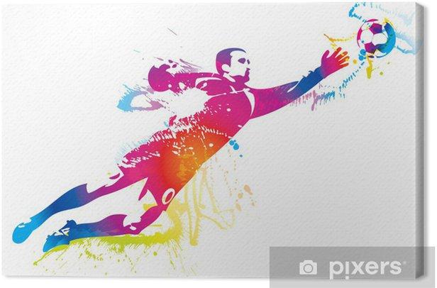 Tableau sur toile Le gardien de but de football attrape le ballon - Destin