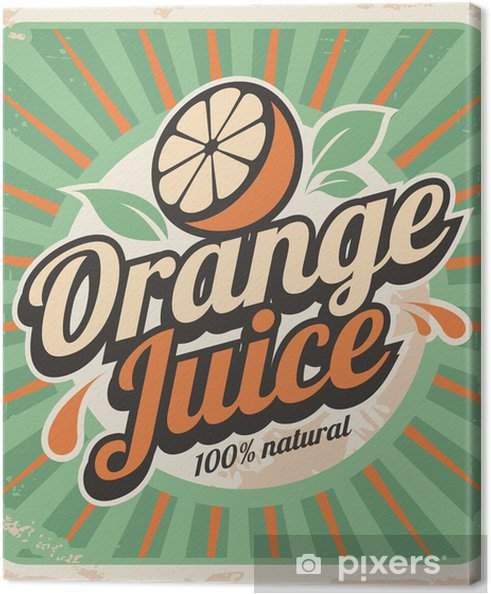 Tableau sur toile Le jus d'orange rétro affiche - Styles