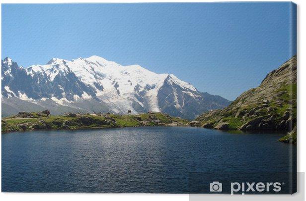Tableau sur toile Le lac de Cheserys et le Mont Blanc - Europe