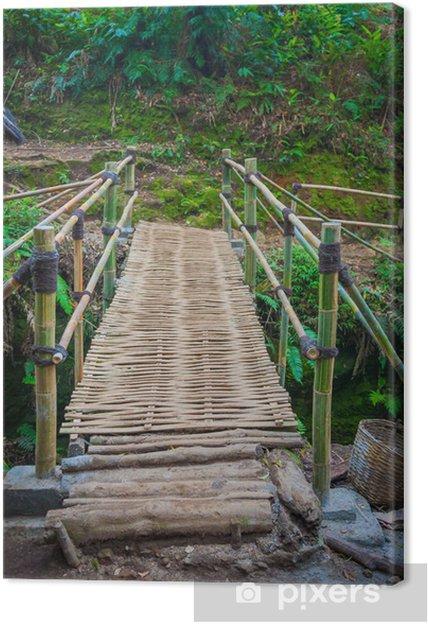 Tableau sur toile Le pont de bambou sous la pluie forrest - Eau