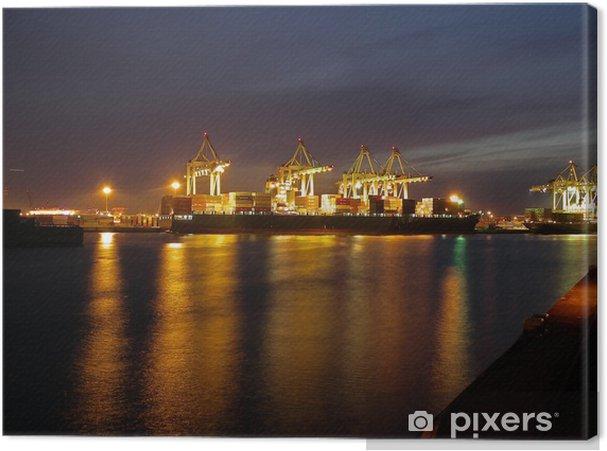 Tableau sur toile Le port de Hambourg dans la nuit - Europe