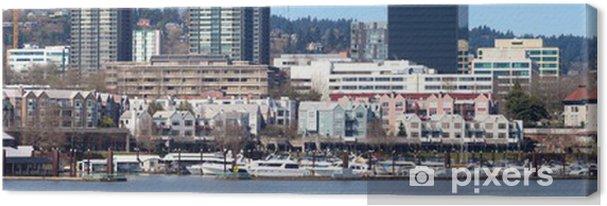 Tableau sur toile Le port de plaisance panorama de bord de mer, Portland, Oregon. - Amérique