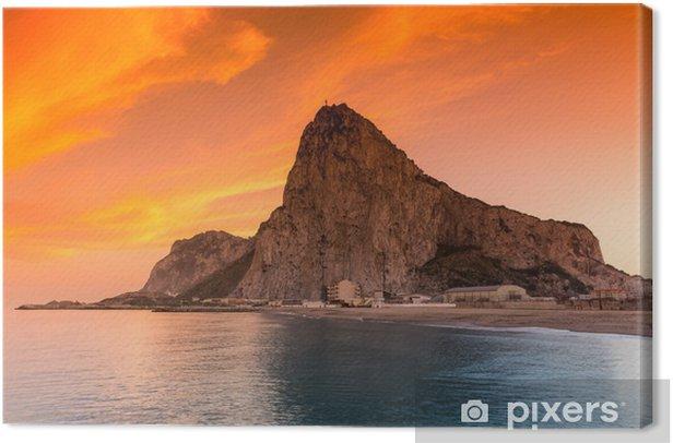 Tableau sur toile Le rocher de Gibraltar vu de la baie côté - Europe