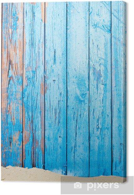 Tableau sur toile Le sable et le mur en bois de cru - Vacances