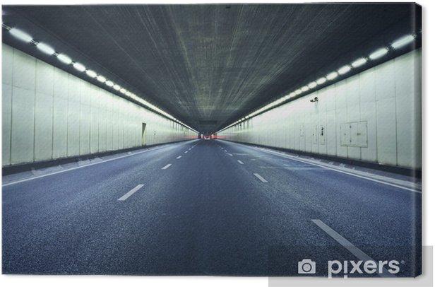 Tableau sur toile Le tunnel la nuit, les lumières formé une ligne. - Thèmes