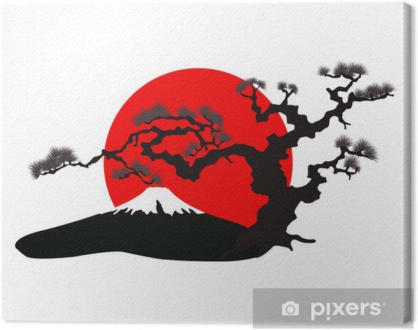 Tableau sur toile Le vecteur silhouette du paysage japonais - Sticker mural
