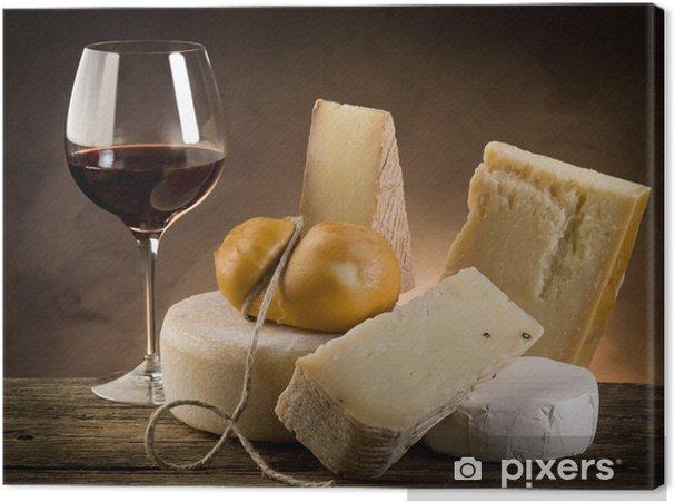 Tableau sur toile Le vin rouge et le fromage - Fromage