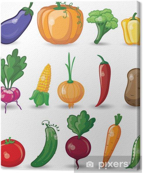 Tableau sur toile Légumes et fruits de bande dessinée - Repas