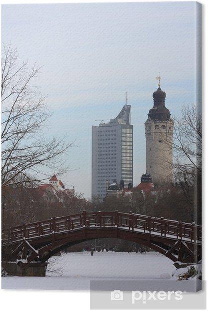 Tableau sur toile Leipzig romantique en hiver - Europe