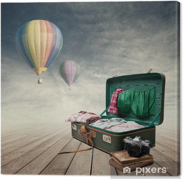 Tableau sur toile Les bagages des photojournalistes - Dans les airs