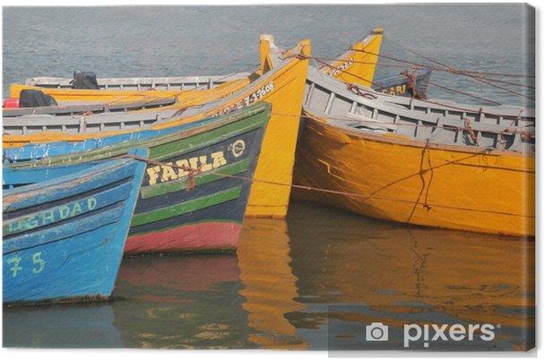 Tableau sur toile Les barques colorées - Afrique