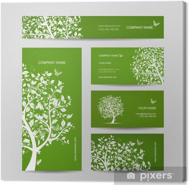 Tableau Sur Toile Les Cartes De Visite Conception Arbre Printemps Avec Oiseaux