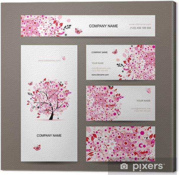 Tableau Sur Toile Les Cartes De Visite Conception Floral Arbre Rose