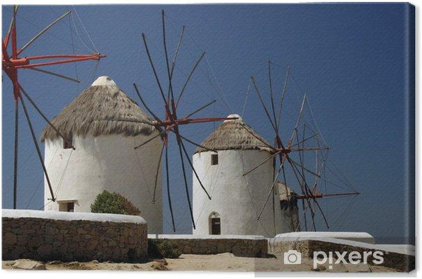 Tableau sur toile Les célèbres moulins à vent de l'île de Mykonos, en Grèce - Europe