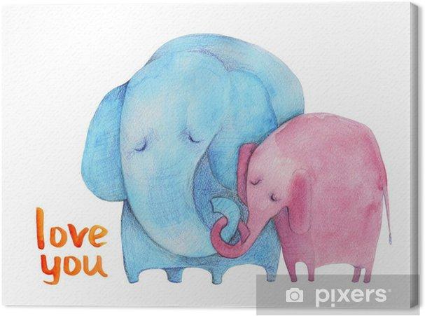 Tableau sur toile Les éléphants. mère et l'enfant. aquarelle - Émotions et sentiments