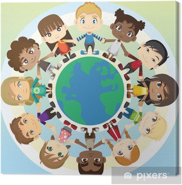 Tableau sur toile Les enfants dans l'unité - Enfants