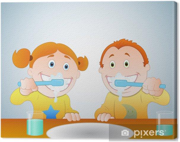Tableau sur toile Les enfants se brosser les dents - Santé et médecine