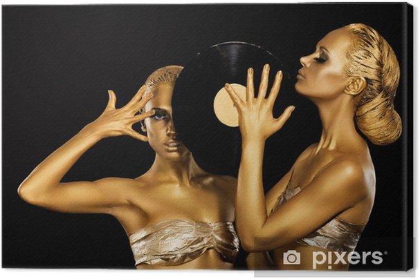 Tableau sur toile Les femmes occupant disque vinyle. Badyart d'or fantastique. Résultats - Femmes