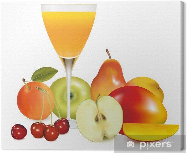 Tableau sur toile Les fruits frais et jus Vector illustration -