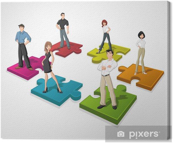Tableau sur toile Les gens d'affaires de dessin animé plus de pièces de puzzle - Concepts