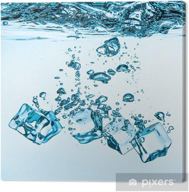 Tableau sur toile Les glaçons tombant sous l'eau - Eau