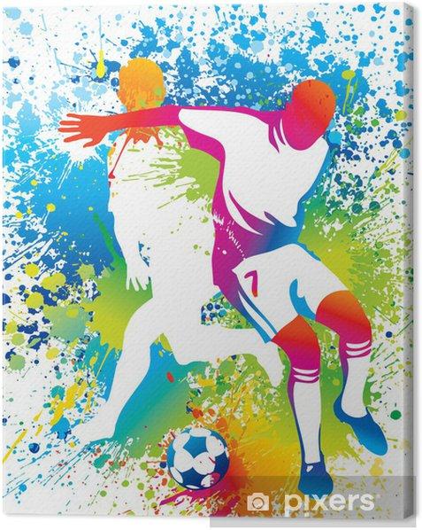 Tableau sur toile Les joueurs de football avec un ballon de soccer -