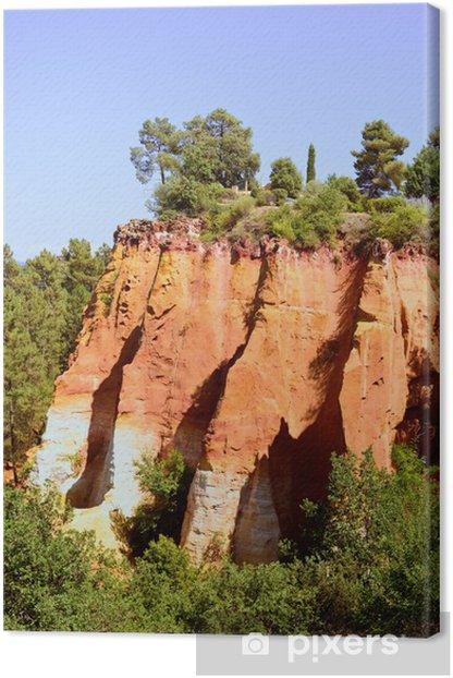 Tableau sur toile Les Ocres du Roussillon, red rock formation. Luberon, Provence, - Europe