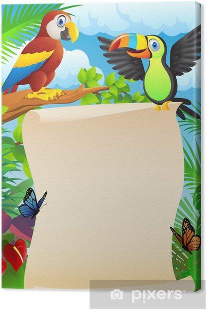 Tableau sur toile Les oiseaux avec signe blanc - Oiseaux