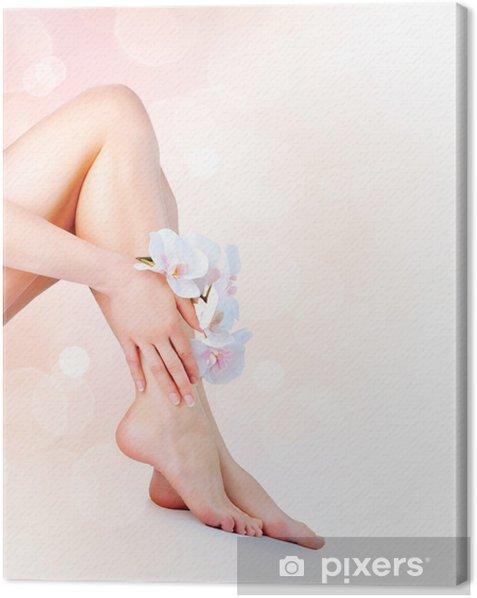 Tableau sur toile Les pieds et les mains de la femme. Manucure et Pédicure notion - Beauté et soins du corps
