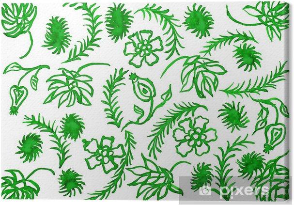 Tableau Sur Toile Les Plantes Vertes Comme Ornement Dessin à L Aquarelle
