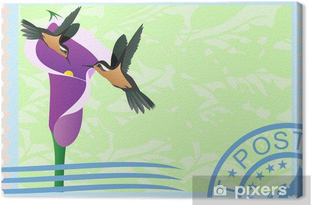 Tableau sur toile Les timbres-poste avec les colibris - Oiseaux