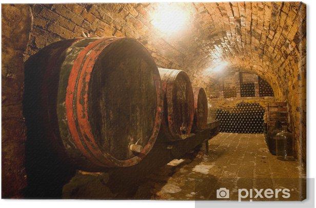 Tableau sur toile Les tonneaux de vin - Alcool