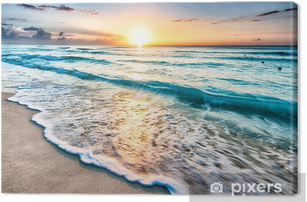 Tableau sur toile Lever de soleil sur la plage de Cancun - Plage et les tropiques