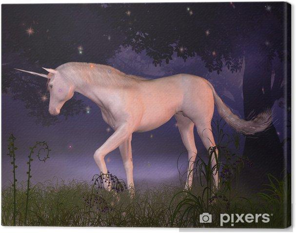 Tableau sur toile Licorne dans une clairière de forêt brumeuse - Autres sentiments