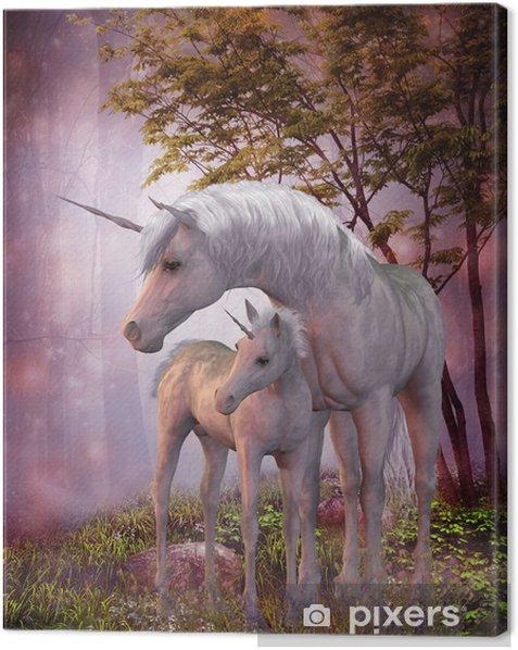 Tableau sur toile Licorne Jument et poulain - Thèmes