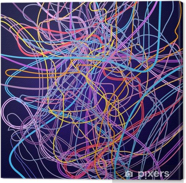 Tableau sur toile Lignes de néon, composition abstraite, arrière-plan lumineux, un enchevêtrement de lignes de couleur, design art vecteur - Ressources graphiques