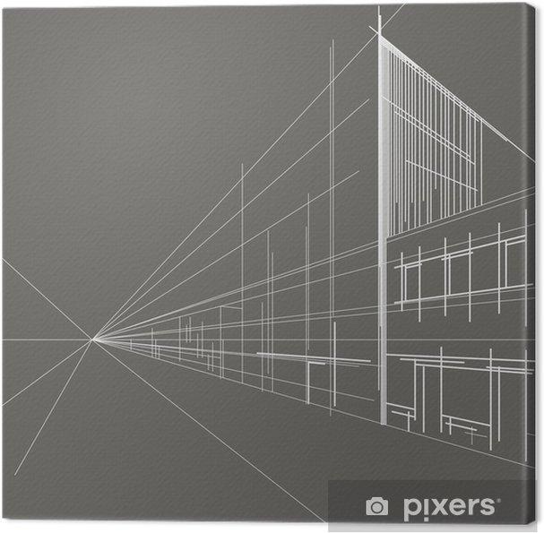 Tableau sur toile Linéaire rue perspective croquis architectural ...