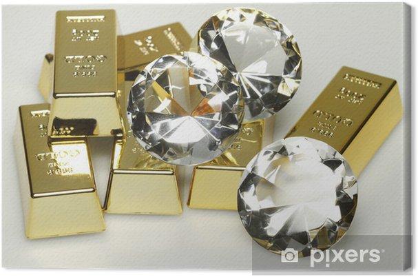 Tableau sur toile Lingots d'or et de diamants - Signes et symboles