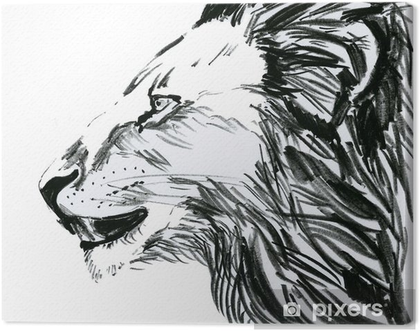 Tableau sur toile Lion, de profil - Mammifères