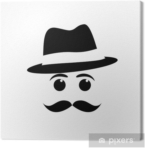 Tableau sur toile Logo moustache et chapeau - Moustache