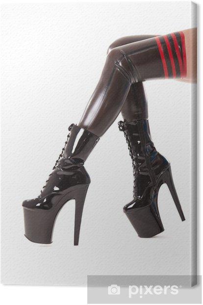 Tableau sur toile Longues jambes sexy en bas en latex et bottes à talons hauts - Thèmes