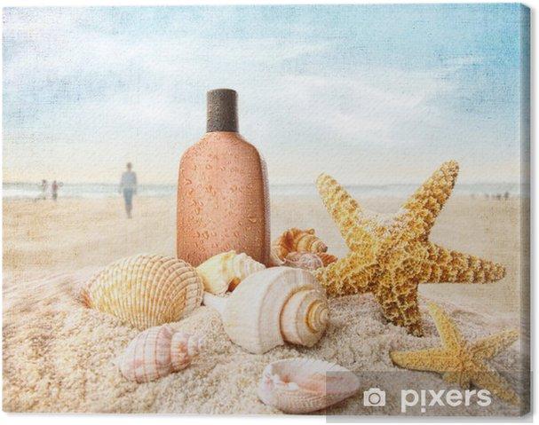 Tableau sur toile Lotion de bronzage et de coquillages sur la plage - Vacances