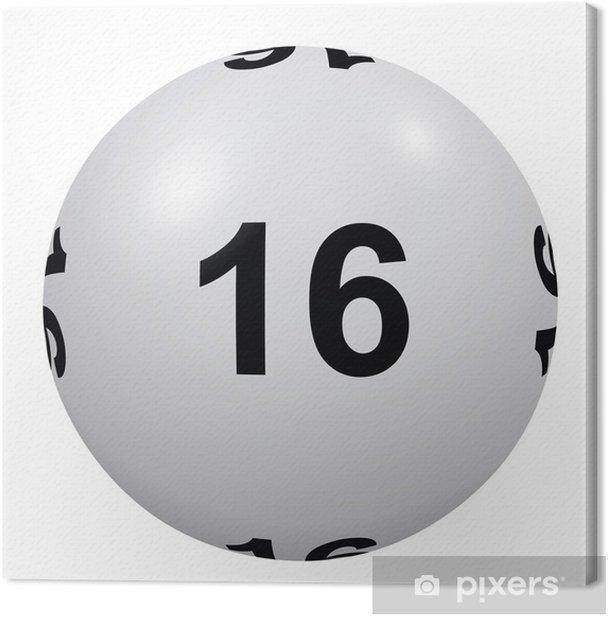 Tableau sur toile Loto, boule blanche numéro 16 - Divertissements