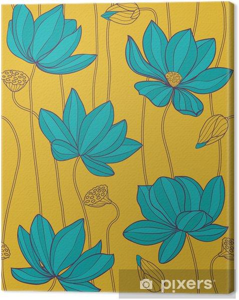 Tableau sur toile Lotus Bleu - modèle vectoriel sans soudure - Arrière plans