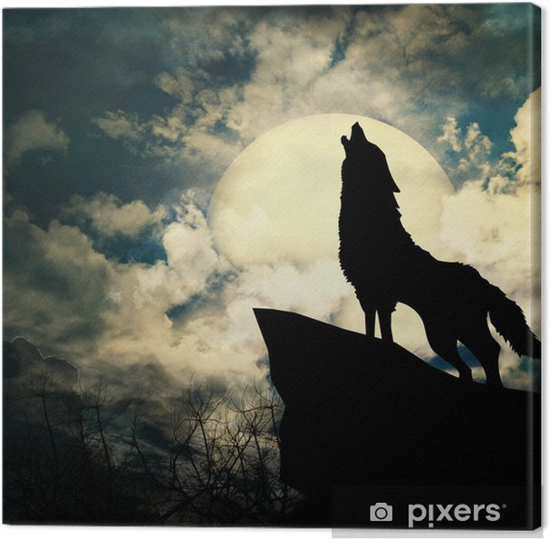 Tableau sur toile Loup hurlant à la silhouette de la pleine lune - Styles
