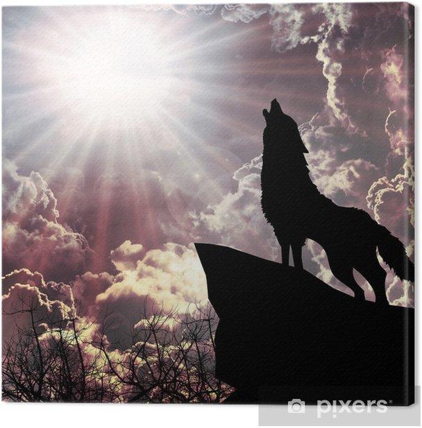 Tableau sur toile Loup hurlant à la silhouette de la pleine lune - Thèmes