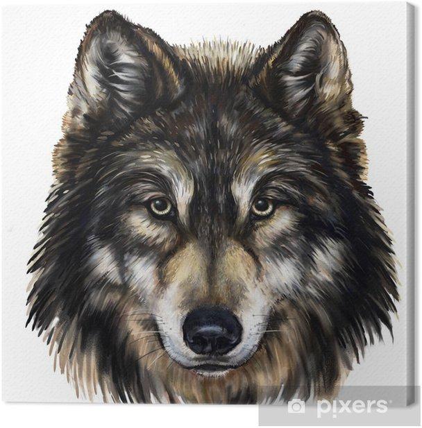 Tableau sur toile Loup tête de peinture numérique - Art et création