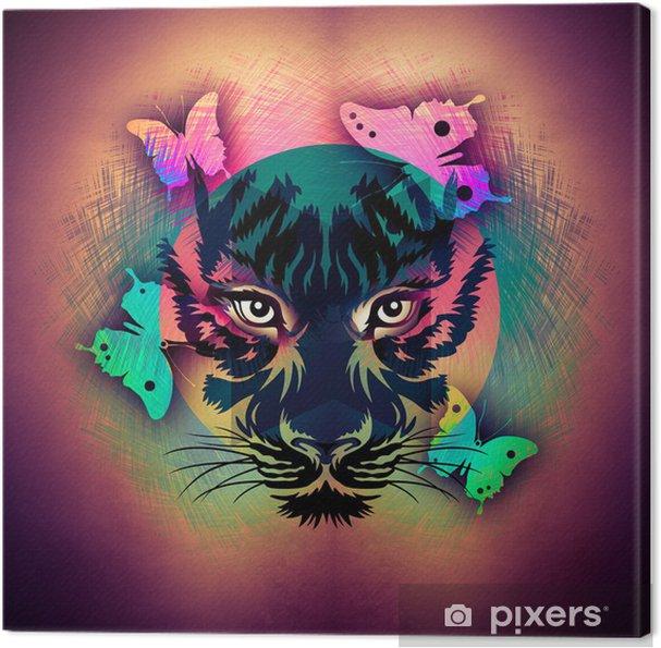 Tableau sur toile Lumineux fond abstrait avec le tigre - Animaux imaginaires